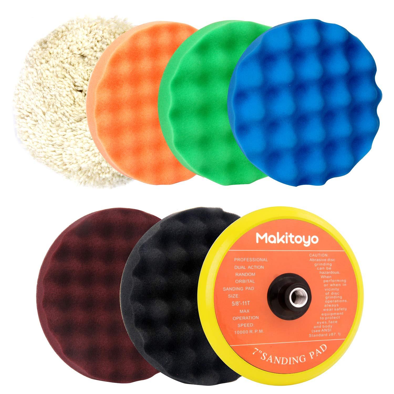 Makitoyo Premium Quality 7-Inch Buffing and Polishing Pad Kit, 5pc of 7'' Polishing Sponge Pad & 1 pc Wool Polishing Pads, 1pc Velcro Sanding Pad Kit-7pcs set by Makitoyo