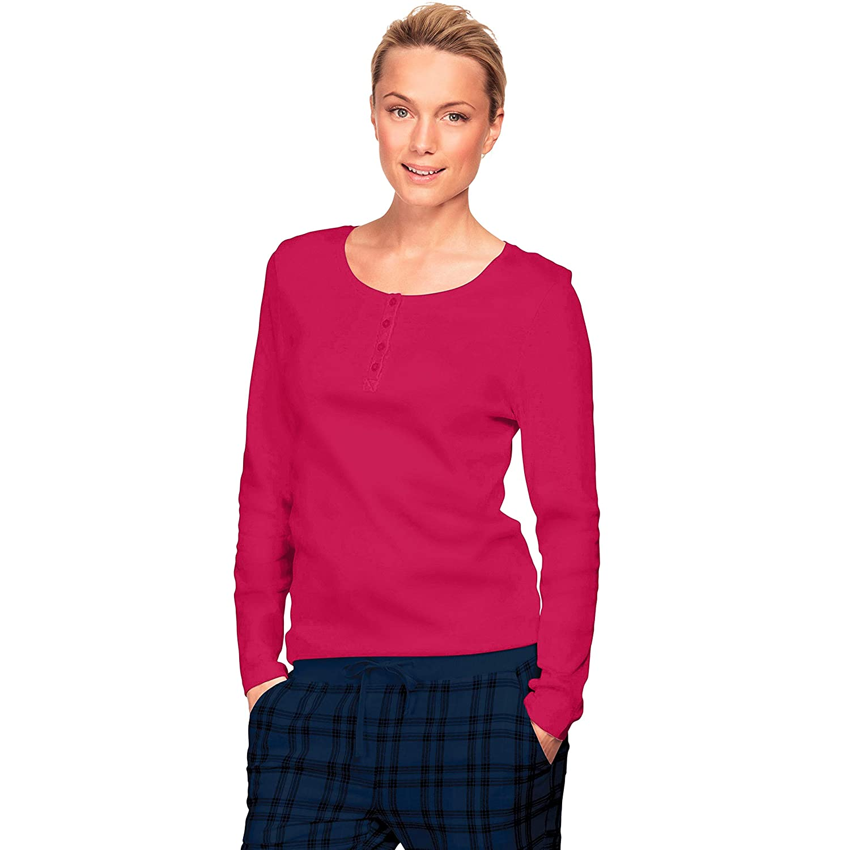 Ellos Womens Plus Size Long Sleeve Henley Sleep Tee