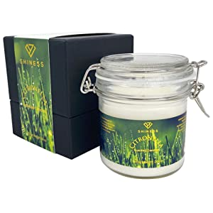 Citronella Candle Outdoor, 19 Oz Aromatherapy Scented Candle for Home Highly Scented with Pure Lemongrass Essential Oil and Natural Soy Wax Hand Poured Odor Exterminator 80 Hour Burn Long