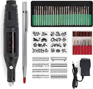 Electric Engraver Pen,Engraving Tool Kit for Metal Glass Stones Ceramic Plastic Wood Jewelry with Polishing Head,Scriber Etcher /& Stencils