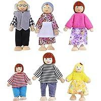 HEALIFTY 6 Unids de Dibujos Animados Juguetes de Marionetas de Madera Muñecas de La Familia Juguete de Madera Artesanal para Niños Juego Casa Regalo (Color Al Azar)