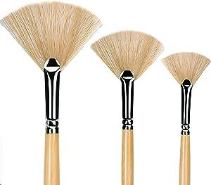 Oil Acrylic Paint Brushes Artist Fan Paint Brush Set Hog Bristle Long Handle Painting Brush. (3Pcs)