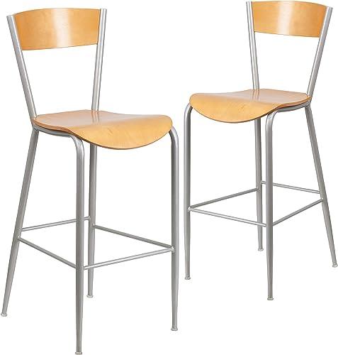 Flash Furniture 2 Pk. Invincible Series Silver Metal Restaurant Barstool – Natural Wood Back Seat