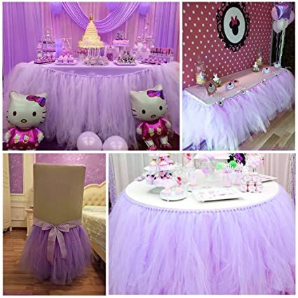 Haperlare 9ft Tablecloth Light Purple Tulle Table Skirt Purple Tulle  Tablecloth Tutu Tablecloth Skirting For Wedding