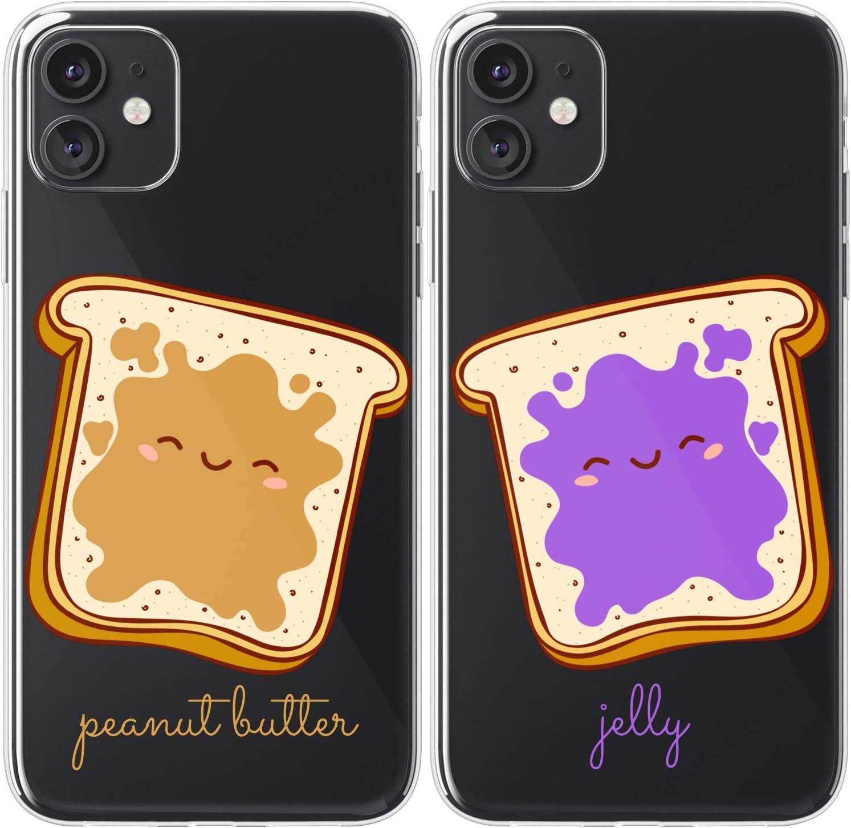 Mertak TPU Couple Cases Compatible with iPhone 12 Pro Max Mini 11 SE Xs Xr 8 Plus 7 6s Matching Cute Flexible Clear Peanut Boyfriend BFFs Kawaii Cover Food Jelly Design Lightweight Girlfriend Toast