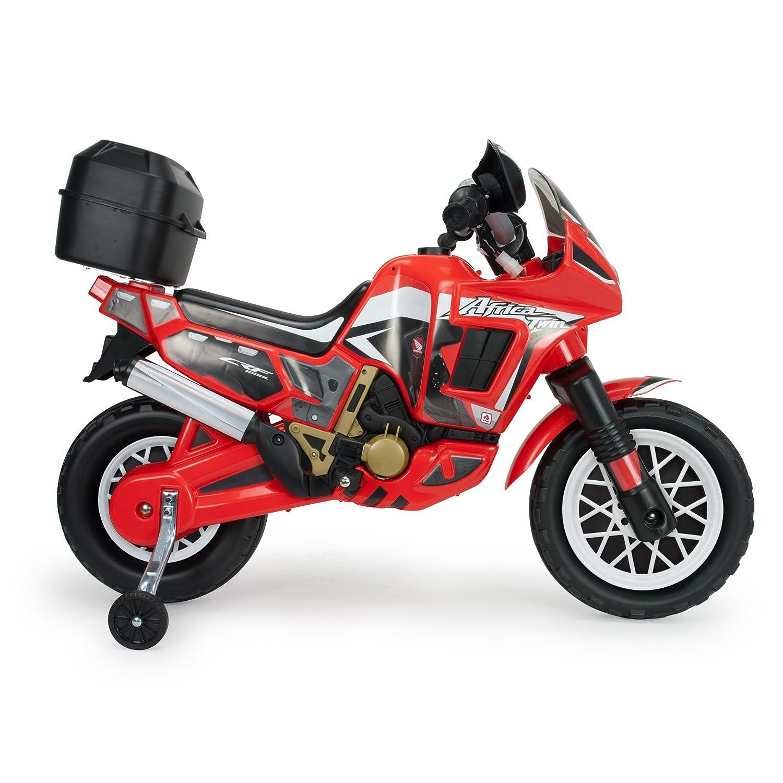 INJUSA Moto Honda Africa Twin a batería 6V para niños de 3 años con Maleta portaequipaje, roja, Color Rojo (6827)