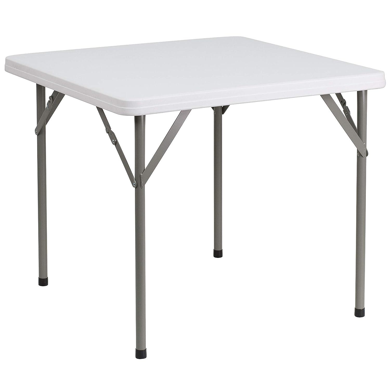 Flash Furniture 3-Foot Square Granite White Plastic Folding Table