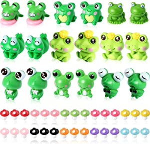 48 Pieces Cute Miniature Frog Figurines Mini Frogs Mushrooms Animals Ornament Fairy Home Colorful Garden Accessories Model Miniature Moss Landscape DIY Accessories Craft for Home Party Decor Supplies