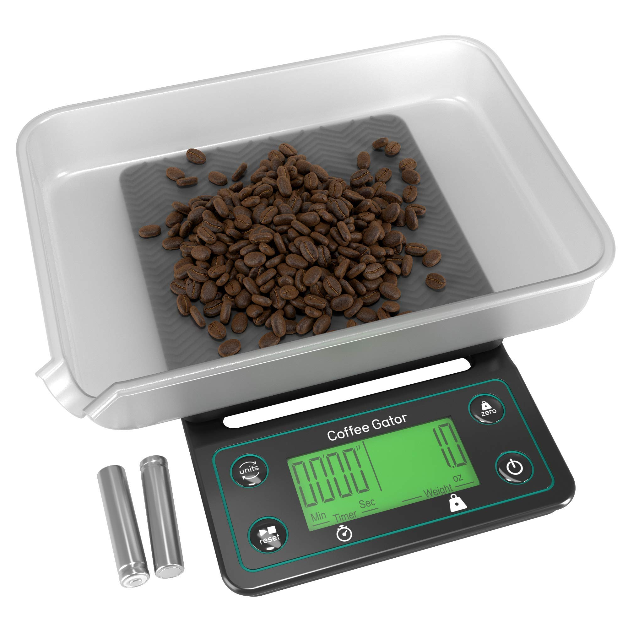 Coffee Gator Digital Scale with Timer - Large, Bright LCD Display - Multifunction Weighing Scale for Coffee Brewing, Food, Drink and General Kitchen Use by Coffee Gator