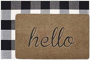 Welcome Doormat, Hello Mat Outdoor Rug + Buffalo Plaid Layered Rug, Non Slip Entryway Indoor Outdoors Mats, Hello, Brown