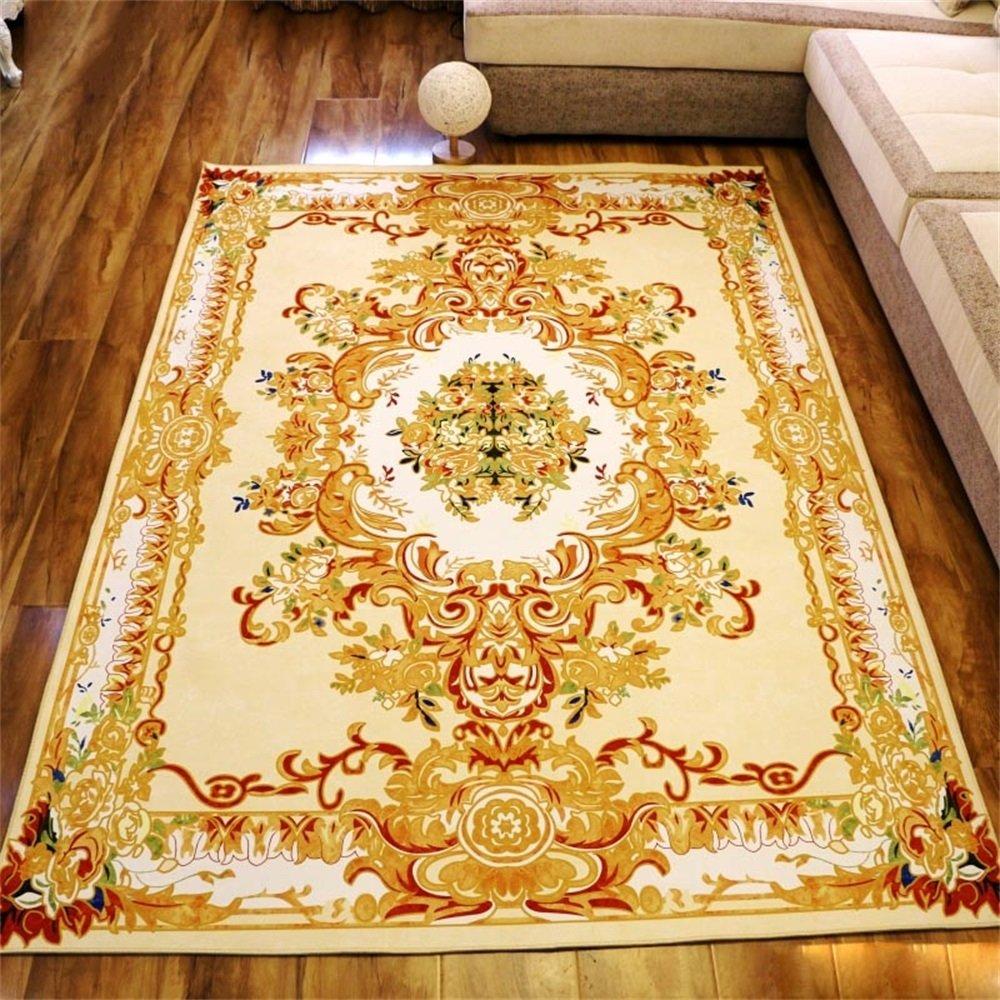 LH-RUG Teppiche & Matten European Style Retro Wohnzimmer Teppich Sofa Couchtisch Teppich Schlafzimmer Bedside Teppich 6 Größen und Golden (größe   160  230cm)