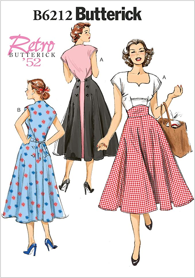 1950s Fabrics & Colors in Fashion Butterick Patterns 6212 E5Misses DressSizes 14-16-18-20-22 None £8.00 AT vintagedancer.com
