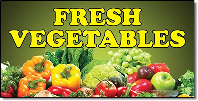 Fresh Vegetables Black Red Food Bar Restaurant Food Truck Vinyl Banner Sign