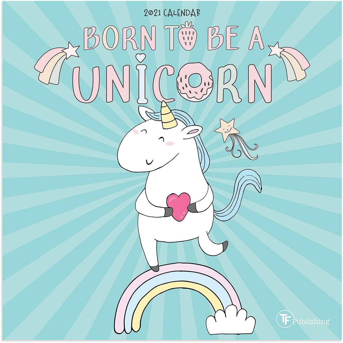 """TF PUBLISHING 2021 Unicorns Mini Monthly Wall Calendar - Magical Rainbow Illustrations Contacts and Notes Space - Home or Office Planning and Organization in Compact Spaces - Premium Matte Paper 7""""x7"""""""