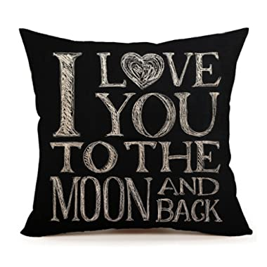 I Love You To The Moon And Back Home Decor Throw Pillow Case Cushion Cover 18 x 18 Inch Cotton Linen(Valentine's Day Gift)