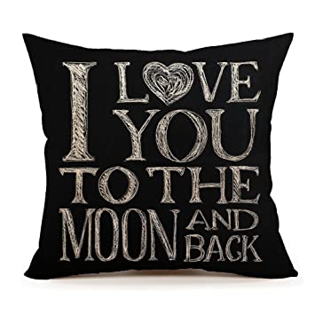 I Love You To The Moon And Back Home Decor Throw Pillow Case Cushion Cover  18