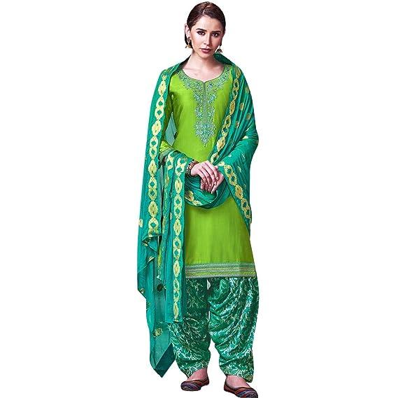 9ab95e72aa Ladyline Womens Silk Embroidered Patiala Salwar Kameez Indian Pakistani  Dress Ready to Wear Stitched Salwar Suit: Amazon.co.uk: Clothing