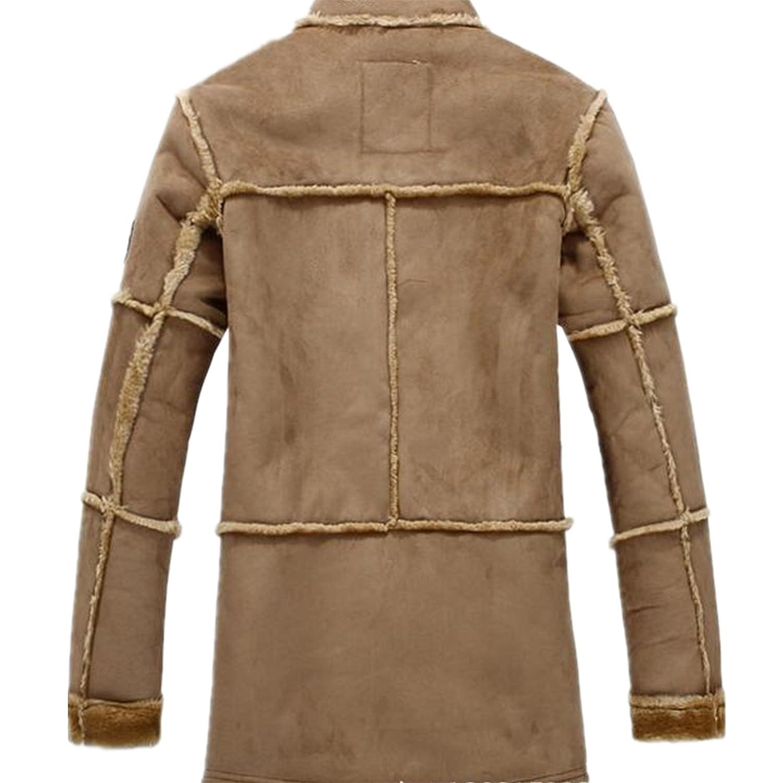 52e08e4dc5 Allonly Men s Vintage Sheepskin Jacket Fur Leather Jacket Cashmere  Shearling Coat at Amazon Men s Clothing store
