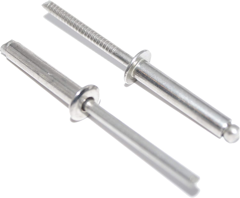 Remaches ciegos 5 x 24 mm, 50 unidades, de acero inoxidable A2 (V2A) con cabeza plana forma A DIN 7337 – ISO 15983