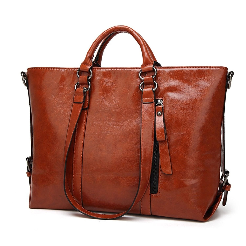 Women PU Leather Waterproof Handbag CrossBody Casual Vintage Shoulder Bag Large Capacity Handbag(Brown)