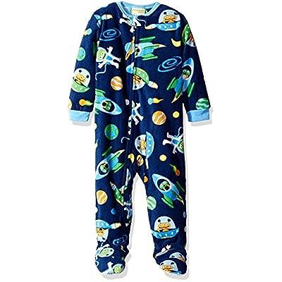 Toddler Boy's 3T Blue Alien Space Ships Print Fleece Footed Pajama Sleeper