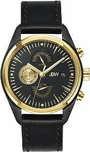 ساعة جيه بي دبليو وودال للرجال مرصعة باربع قطع من الماس، ومينا ايون اسود بسوار جلدي - J6300C