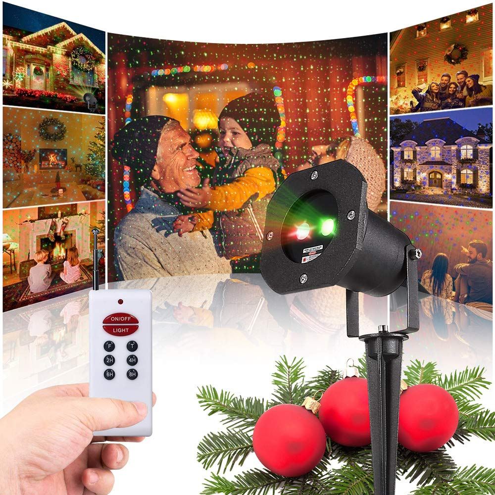 TryLight Christmas Lights Projector, Outdoor Laser Christmas Lights LED Landscape Spotlights Red and Green Spots with RF Wireless Remote for Christmas, Party, New Year, Garden Decoration