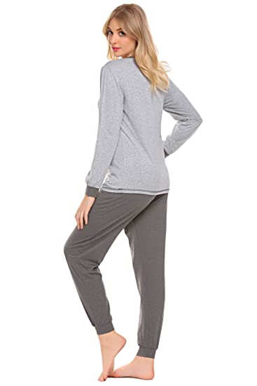 1b06991926 Avidlove Damen Schlafanzug Ausgewählte Baumwolle Pyjama Top und Hose Set in  europäischen: Amazon.de: Bekleidung