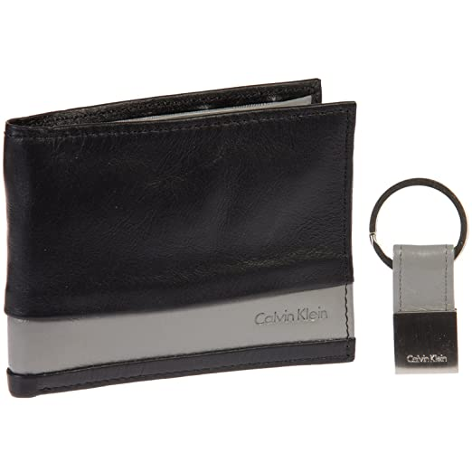 4ef744fcce5f Calvin Klein Striped Leather Billfold Wallet   Key Fob Gift Set (Black Grey)