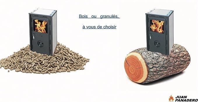 Juan Panadero-Estufa 370 artico policombustible Leña-Pellet 10,3 Kw: Amazon.es: Hogar