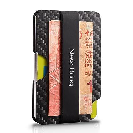 ce562eb61 NEW-BRING Billetera para Hombre Portatarjetas de fibra de carbono Carteras  para Caballero Bloqueo RFID