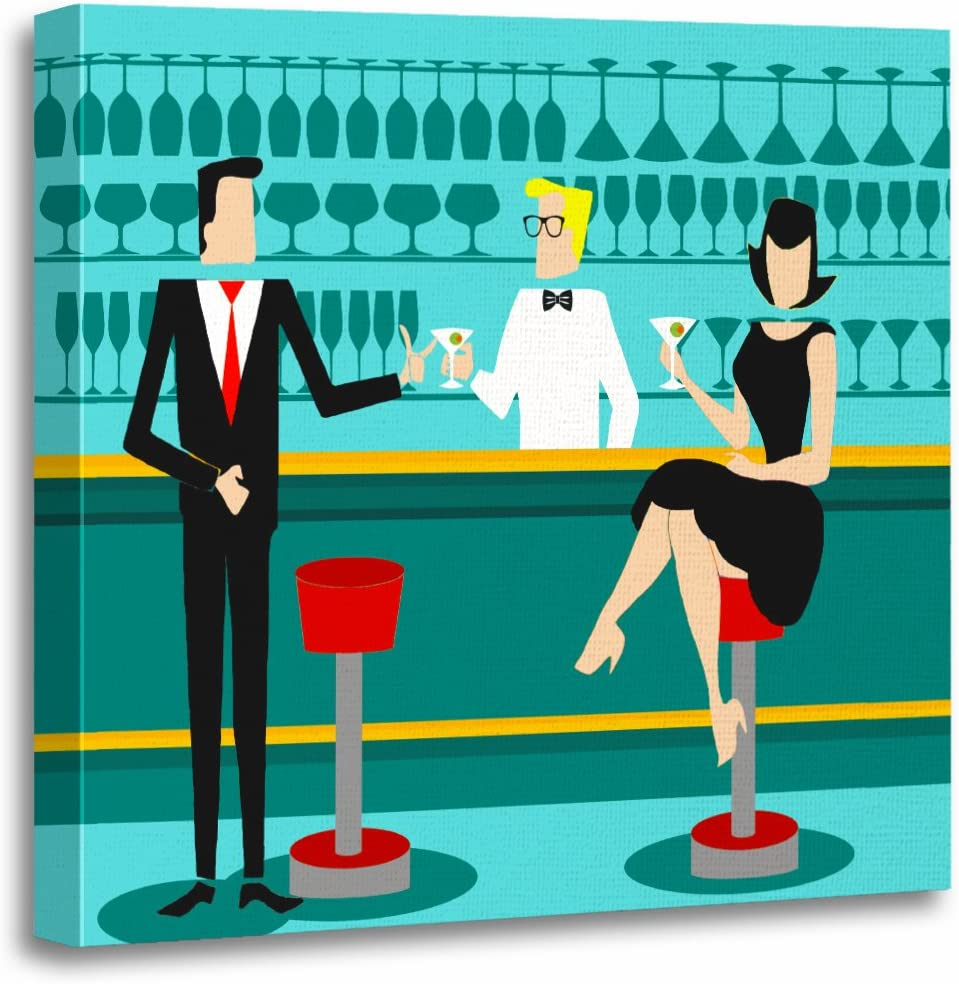 Torass Canvas Wall Art Print Party Retro Cocktail Lounge Vintage Mid Century Modern Artwork For Home Decor 20 X 20 Posters Prints