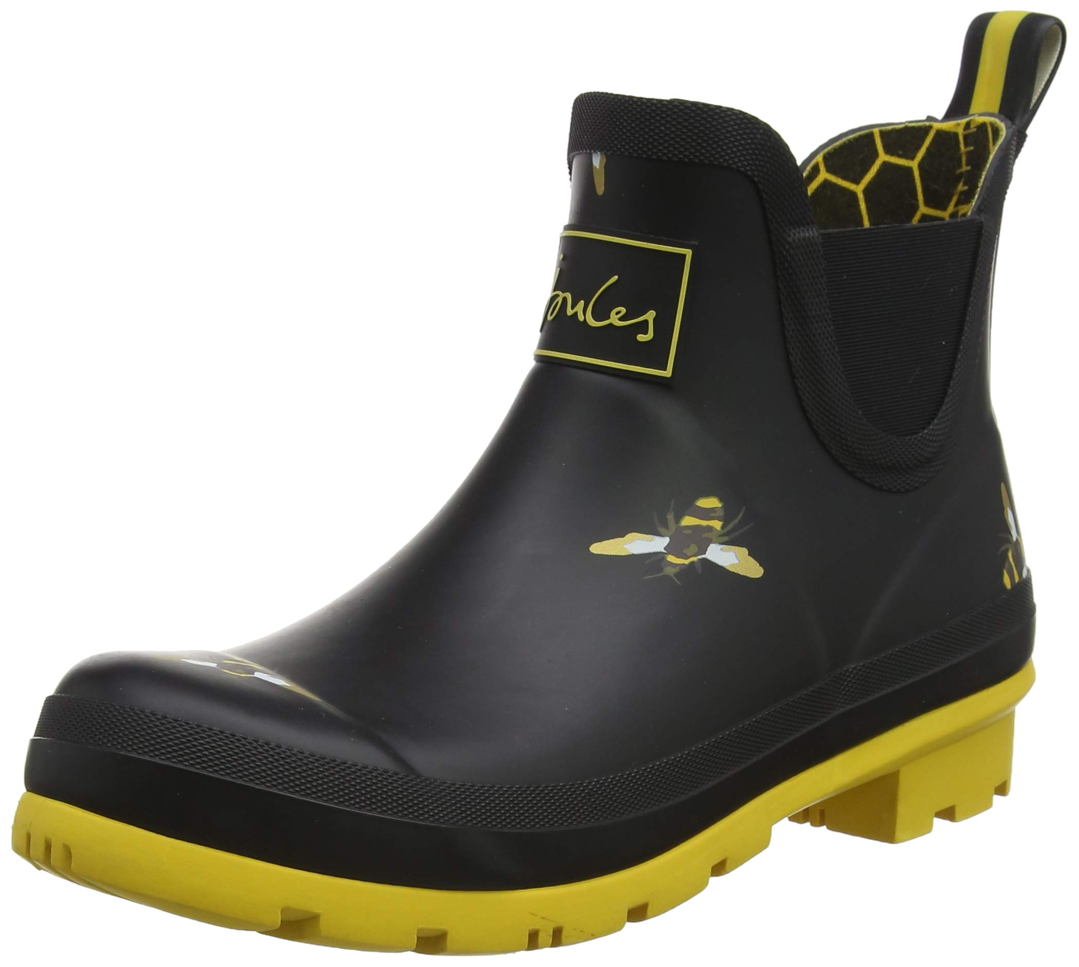 Joules Women's Wellibob Black Metallic Bees Ankle-High Rubber Rain Boot - 9M by Joules