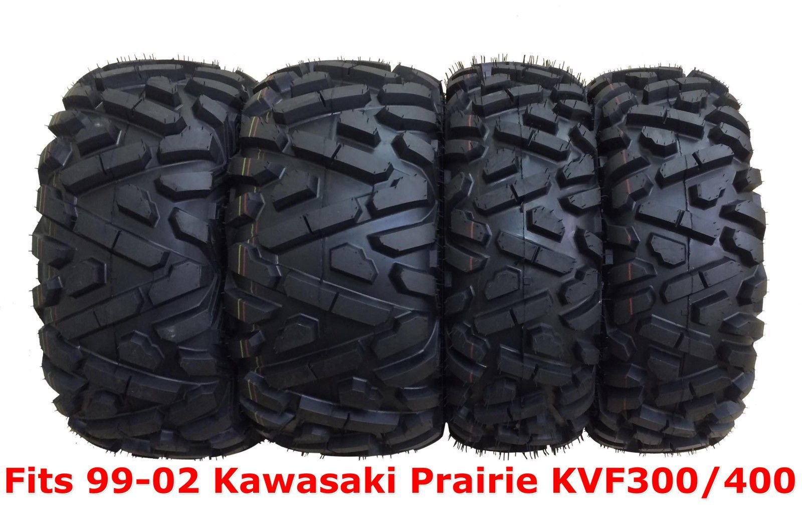 Set 4 WANDA ATV tires 25x8-12 & 25x11-10 for 99-02 Kawasaki Prairie KVF300/400