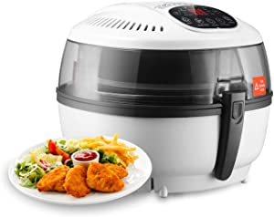 LCD Display Digital Electric Air Fryer Calorie Reducer Oil-Less Griller 10QT - White Color