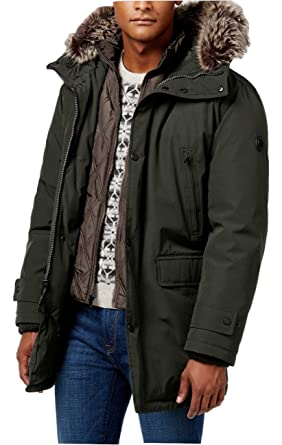 Michael Kors Olive Solid Zippered & Push New Men's Parka Jacket ...