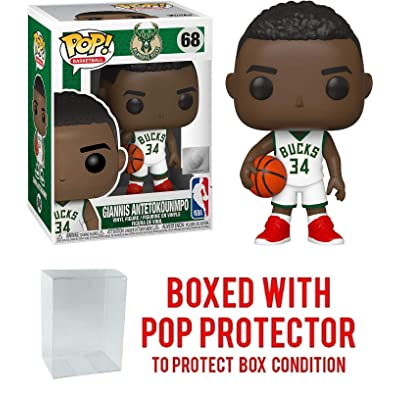 Giannis Antertokounmpo Milwaukee Bucks White Jersey #68 Pop Sports NBA Action Figure (Bundled with Pop Protector to Protect Display Box): Toys & Games