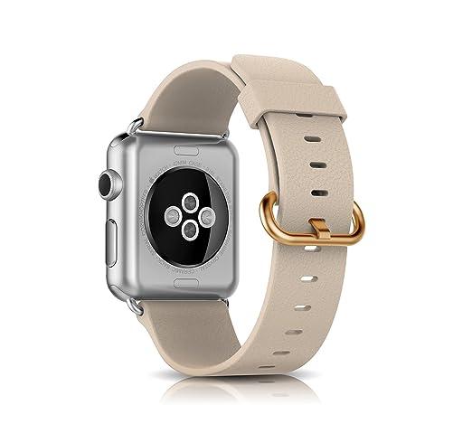 15 opinioni per Trop Saint® Apple Watch (42mm) Cinturino in Vera Pelle con Fibbia Dorata- Beige-