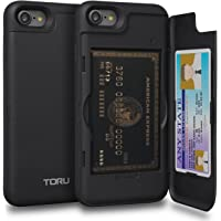 TORU CX PRO iPhone 8 Wallet Case with Hidden ID Slot Credit Card Holder Hard Cover & Mirror for iPhone 8 / iPhone 7 - Matte Black
