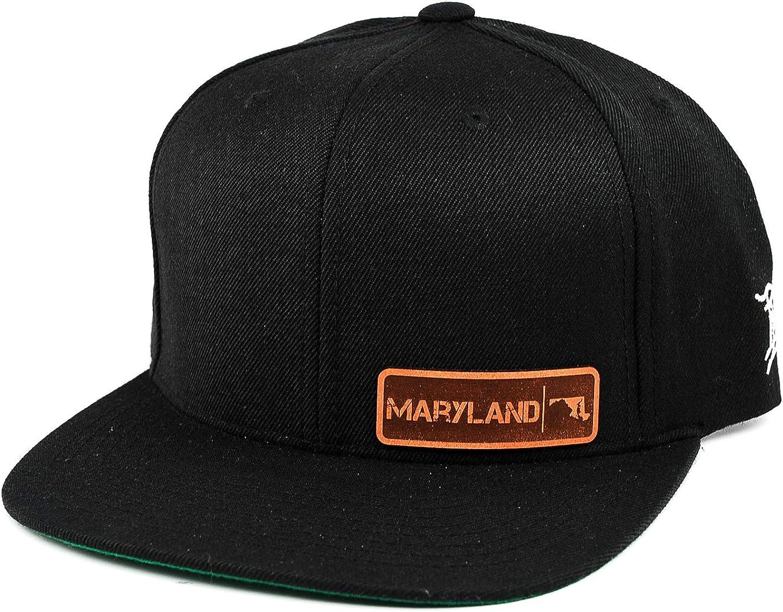 OSFA//Black Branded Bills /'Maryland Native Leather Patch Snapback Hat