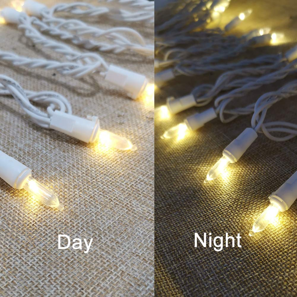 Peuled Led Christmas Lights 4 Pack 120v 100led 33ft Ul Listed Mini Clear Lights White Wire Warm White String Lights For Indoor Outside Party