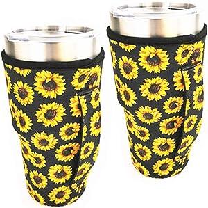 WJA Neoprene Handler Insulator Cooler fits 30oz tumblers and Blender Bottles Lit can Coolers Coolie Cover Handle Sleeve