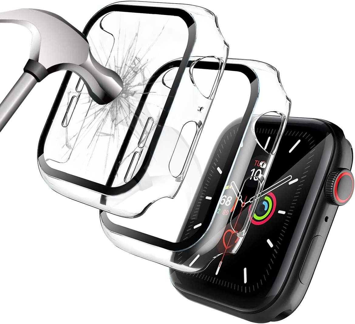 [2 Pack] Case for Apple Watch Series 6/5/4/SE 40mm Built in Tempered Glass Screen Protector, Miesherk STOCK Hard PC Bumper Full Coverage Shockproof Protective Cover for iWatch 40mm - Clear