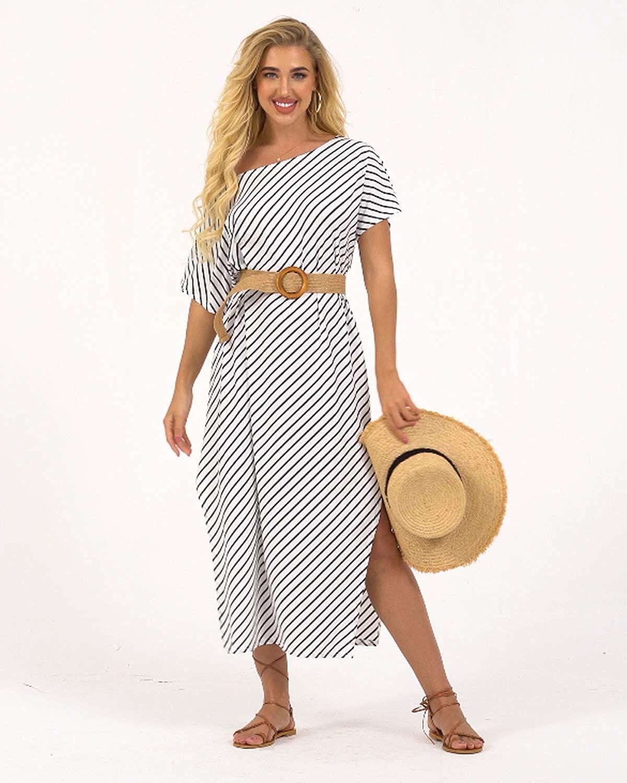 Kidsform Damen Sommerkleid Schulterfreies Maxikleid Kurzarm Streifen langes Partykleid Off Shoulder Lose Strandkleid