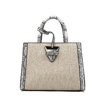 886293f7f80c Women s Handbags Design Elegant top Handle Bag Luxury Oil Wax Leather Bags  Shoulder Bag for Ladies Gray  Amazon.co.uk  Luggage