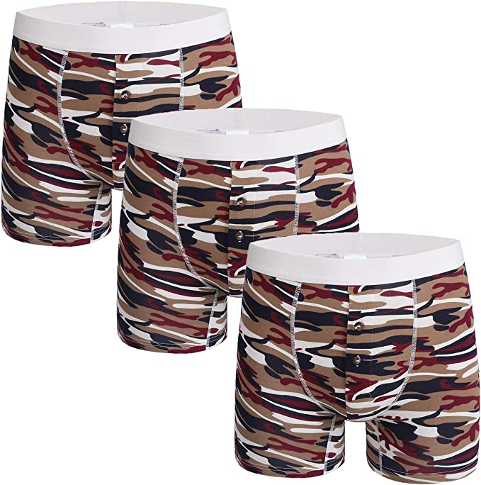 Nuofengkudu Hombre Boxers Largos Calzoncillos Abierta(3 Pack ...