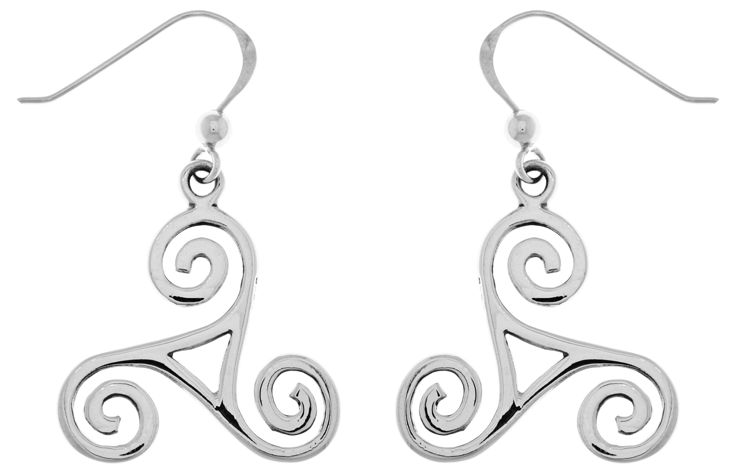 Jewelry Trends Spiral Triskele Celtic Trinity Knot Sterling Silver Dangle Earrings
