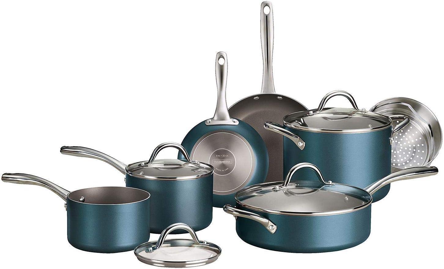 Tramontina 11-Piece Nonstick Cookware Set (Teal)