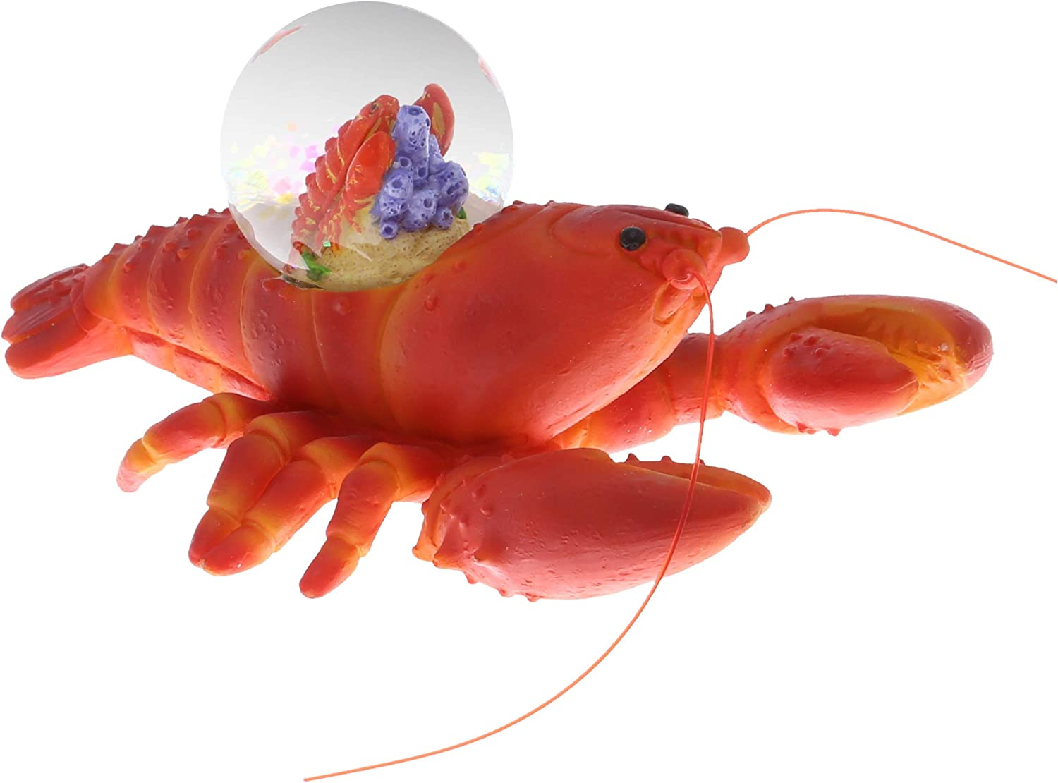 CoTa Global Animal Glitter Snow Globe Glass Collectibles, Cool Land & Ocean Decor Wildlife Figurines Snow Globes Centerpiece, Nautical Water Globes For Home Decor & Shelf Decorations 45mm - Lobster