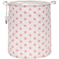 "Sea Team 19.7"" Large Sized Waterproof Coating Ramie Cotton Fabric Folding Laundry Hamper Bucket Cylindric Burlap Canvas Storage Basket with Stylish Pink & White Star Design"